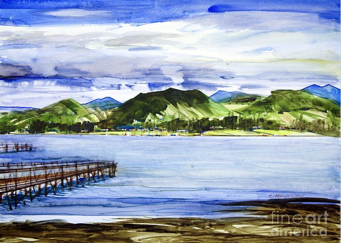 Seascape Greeting Card featuring the painting Looking At Morro Bay by Chuck Hayden