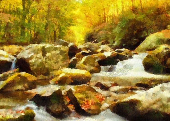 Rivers In The Fall Mixed Media Greeting Cards