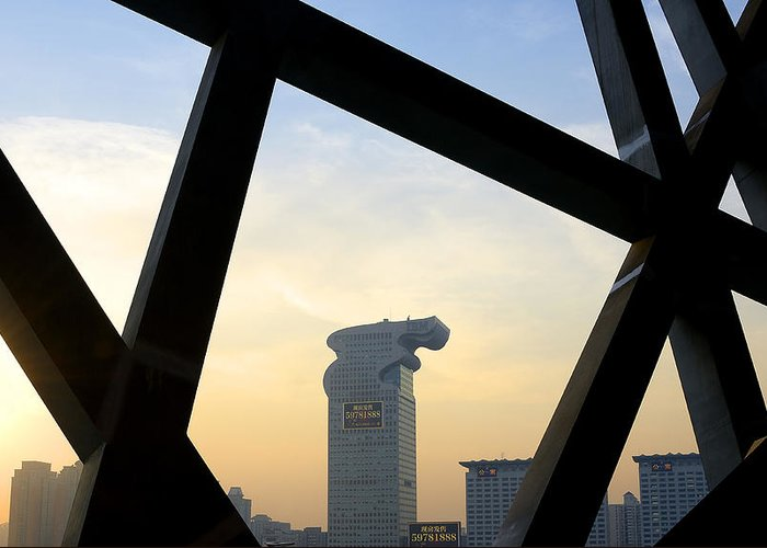 bird's Nest Greeting Card featuring the photograph Looking Out From The Birds Nest - Beijing China by Brendan Reals