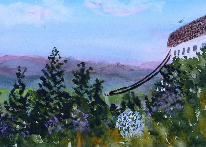 Mountain Greeting Card featuring the painting Looking Out From Top Of Jay Peak by Donna Walsh