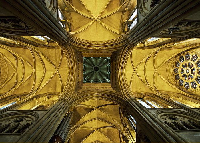 Arch Greeting Card featuring the photograph Looking Up At A Cathedral Ceiling by James Ingham / Design Pics