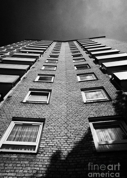 Stangate Greeting Card featuring the photograph looking up at stangate house 1950s tower block flats housing lambeth London England UK by Joe Fox