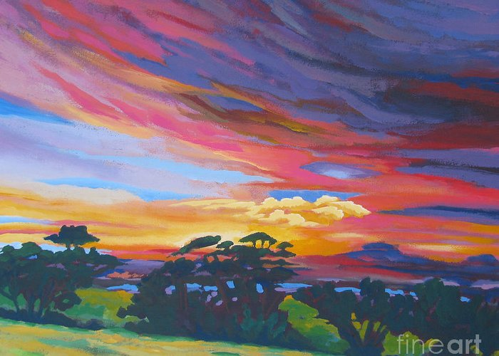 Amador Greeting Card featuring the painting Looking West From Amador Hills by Vanessa Hadady BFA MA