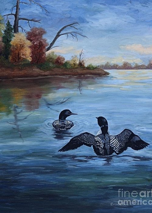 Loons Greeting Card featuring the painting Loon Dance II by Brenda Thour