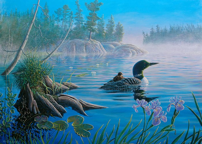 Loons Greeting Card featuring the painting Loon Family by Don Ningewance