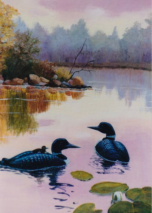 Loon Greeting Card featuring the painting Loons At Twilight by Brenda Thour