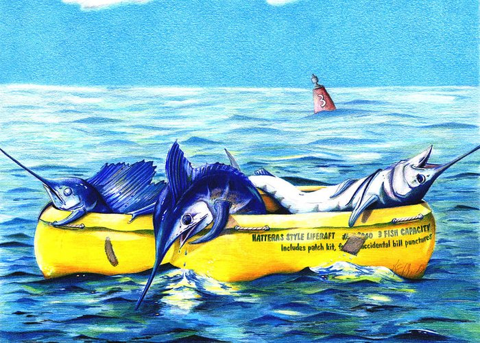 White Marlin Greeting Card featuring the drawing Loran Coordinates Available by Karen Rhodes