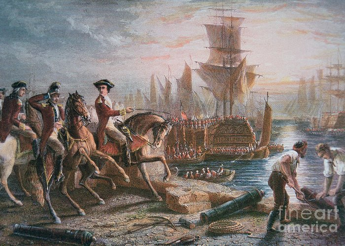 British Army; Cavalry; Ship; Boat; Navy; Naval; American; Us; United States; American Revolutionary War; Escape; Evacuation; Directing; C18th; Defeat Greeting Card featuring the painting Lord Howe Organizes The British Evacuation Of Boston In March 1776 by English School