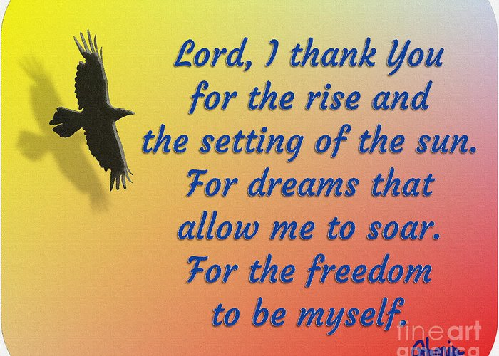 Lord I Thank You For The Freedom Greeting Card featuring the painting Lord I Thank You for the Freedom by Pharris Art