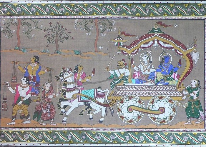 Mythological Greeting Card featuring the painting Lord Krishna With Brother Visiting Mathura by Prasida Yerra