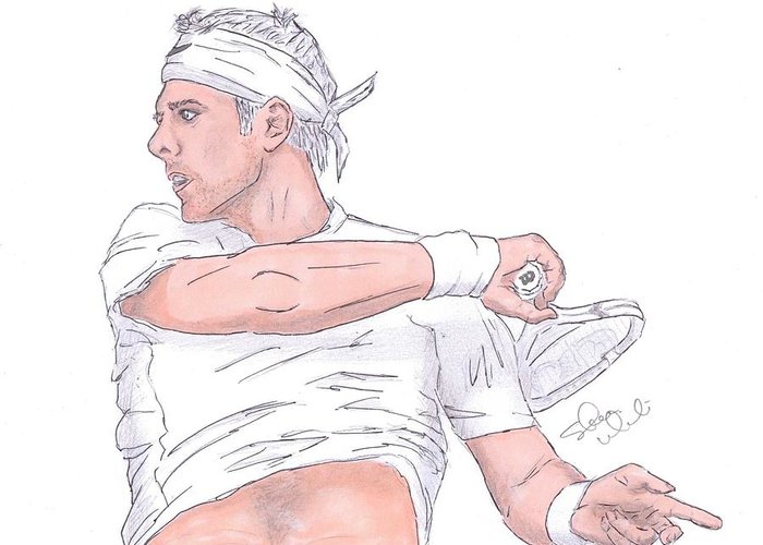 Juan Martin Del Potro Greeting Card featuring the drawing Lord Of The Courts Juan Martin The White by Steven White