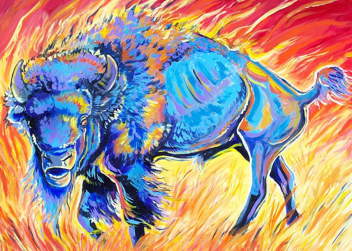 Buffalo Greeting Card featuring the painting Lord Of The Prairie by Jenn Cunningham