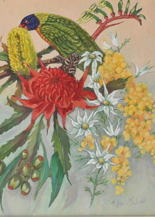 Bird Portraits Greeting Card featuring the painting Lorikeet And Wildflowers by Aileen McLeod