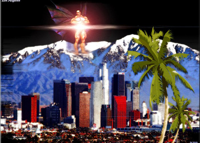 Los Angeles Greeting Card featuring the digital art Los Angeles by Daniel Janda