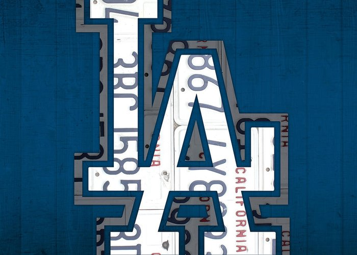 Los Greeting Card featuring the mixed media Los Angeles Dodgers Baseball Vintage Logo License Plate Art by Design Turnpike