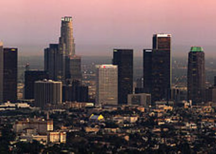 Los Angeles Greeting Card featuring the photograph Los Angeles Dusk by Rene Sheret