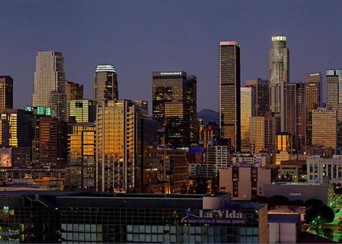 Los Angeles Greeting Card featuring the photograph Los Angeles Night by Rene Sheret
