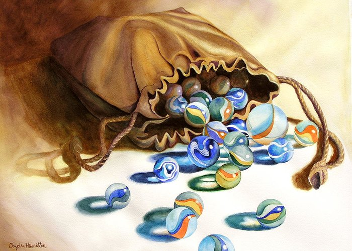 Watercolor Painting Of Marbles Greeting Card featuring the painting Losing My Marbles by Daydre Hamilton