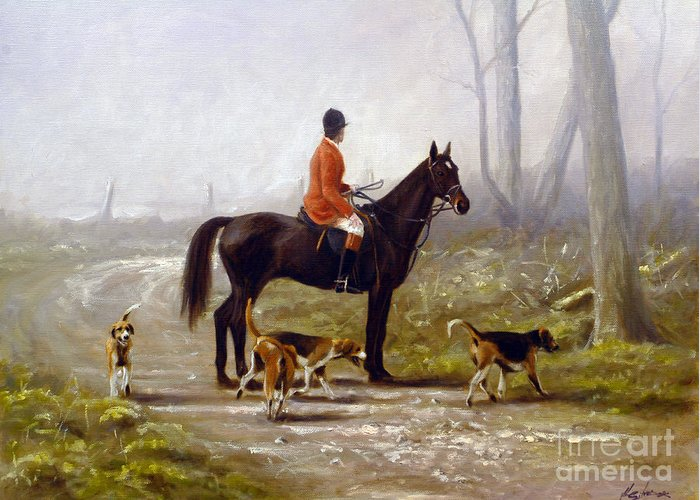 Horse Paintings Greeting Card featuring the painting Losing The Scent by John Silver