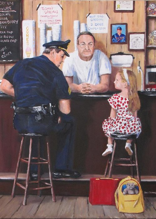 Police Greeting Card featuring the painting Lost And Found by Jack Skinner