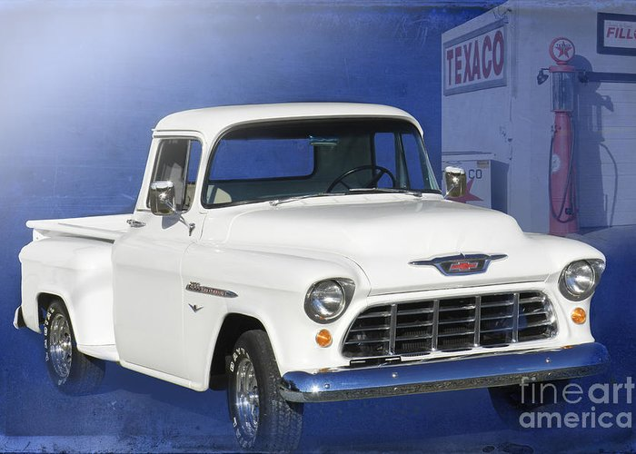 1955 Chevrolet Pickup Greeting Card featuring the photograph Lost In The 50s by Betty LaRue