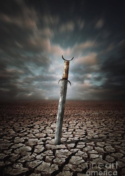 Drought Greeting Card featuring the photograph Lost Sword by Carlos Caetano