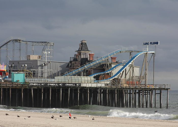 Casino Pier Greeting Card featuring the photograph Lost To Sandy by Laura Wroblewski