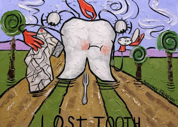 Lost Tooth Greeting Card featuring the painting Lost Tooth by Anthony Falbo