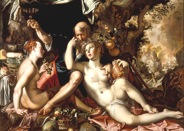 Lot And His Daughters Greeting Card featuring the digital art Lot And His Daughters by Joachim Antonisz Wtewael