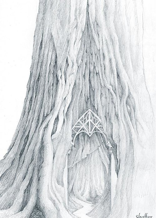 Fantasy Tree Drawings Greeting Cards