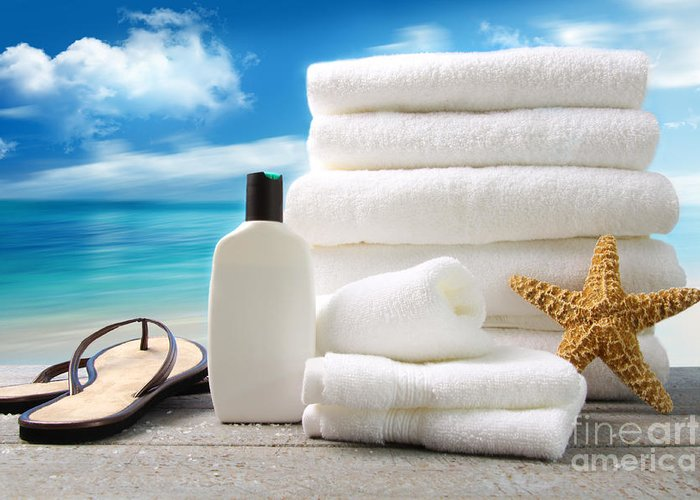 Aromatherapy Greeting Card featuring the photograph Lotion Towels And Sandals With Ocean Scene by Sandra Cunningham
