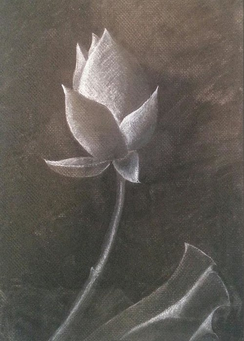 Lotus Flower Greeting Card featuring the drawing Lotus by Amy Jago-Ford
