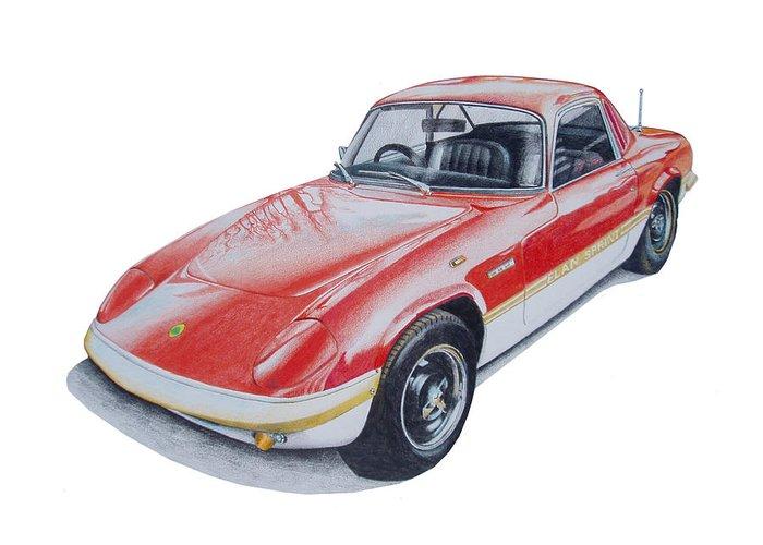 Classic Car Greeting Card featuring the drawing Lotus Elan Sprint by Benjamin Self