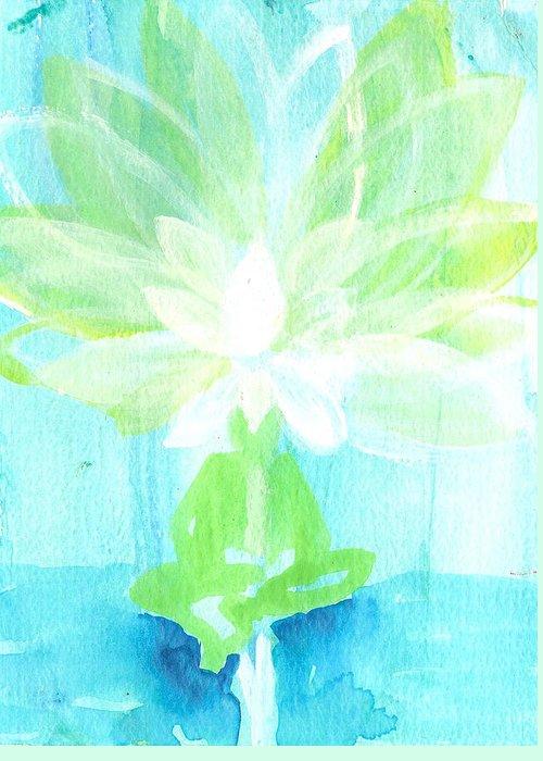 Lotus Flower Greeting Card featuring the painting Lotus Petals Awakening Spirit by Ashleigh Dyan Bayer