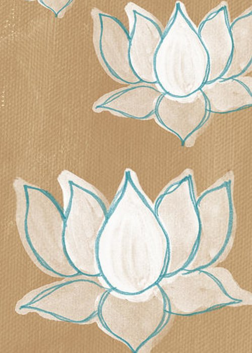 Serenity Greeting Card featuring the painting Lotus Serenity by Linda Woods