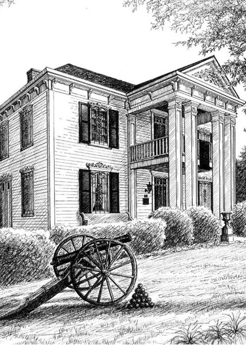 Battle Of Franklin Greeting Card featuring the drawing Lotz House by Janet King