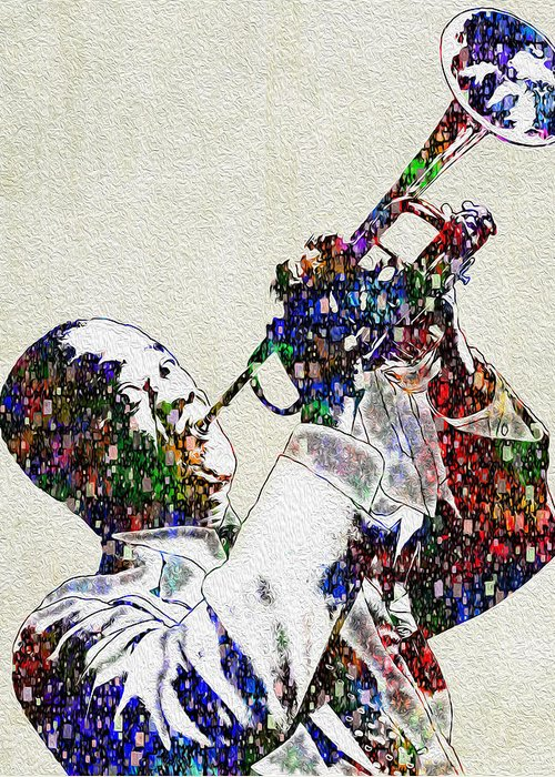 Louis Armstrong Greeting Card featuring the painting Louie Armstrong 2 by Jack Zulli