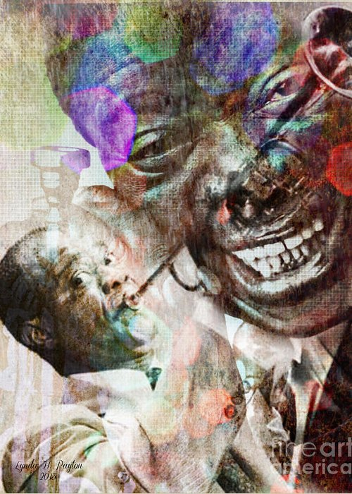Louis Armstrong Paintings Greeting Card featuring the digital art Louis Armstrong by Lynda Payton