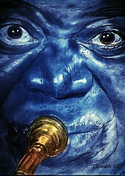 Louis Armstrong Greeting Card featuring the digital art Louis Armstrong by Tracy Russell