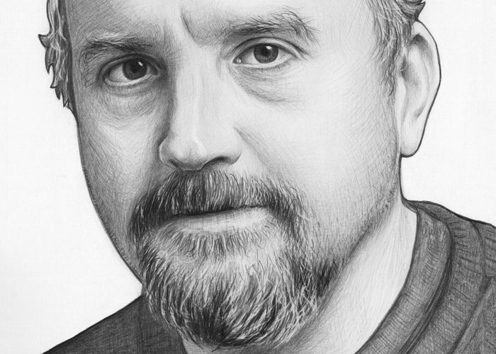 Louie Ck Greeting Card featuring the drawing Louis Ck Portrait by Olga Shvartsur