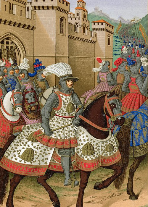Suppressed Revolt In Genoa Greeting Card featuring the drawing Louis Xii Leaving Alexandria by Jean Marot