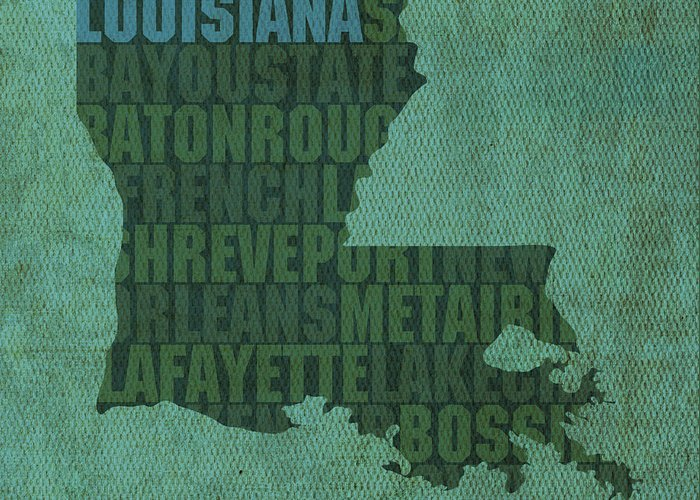 Louisiana Map Greeting Cards