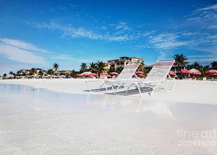 Grace Bay Greeting Card featuring the photograph Lounge Chairs On Grace Bay Beach by Jo Ann Snover