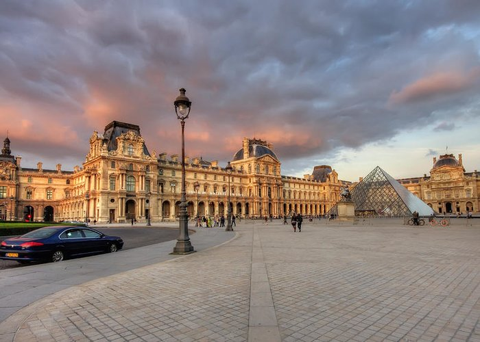 Arch Greeting Card featuring the photograph Louvre Museum At Sunset by Ioan Panaite