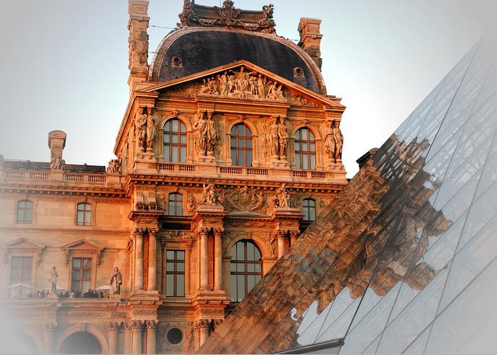 Louvre Museum Greeting Card featuring the photograph Louvre And Pei by Jacqueline M Lewis