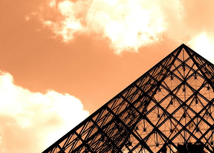 Paris Greeting Card featuring the photograph Louvre Pyramid Top Edited by Nicholas Miller