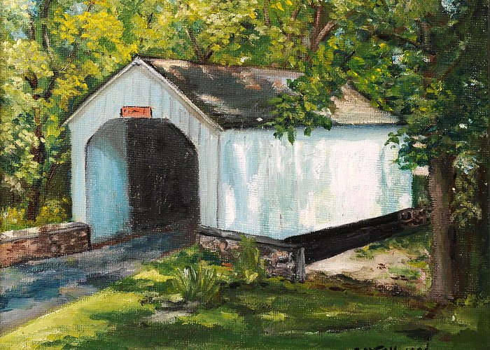 Covered Bridge Greeting Card featuring the painting Loux Covered Bridge Bucks County Pa by Aurelia Nieves-Callwood