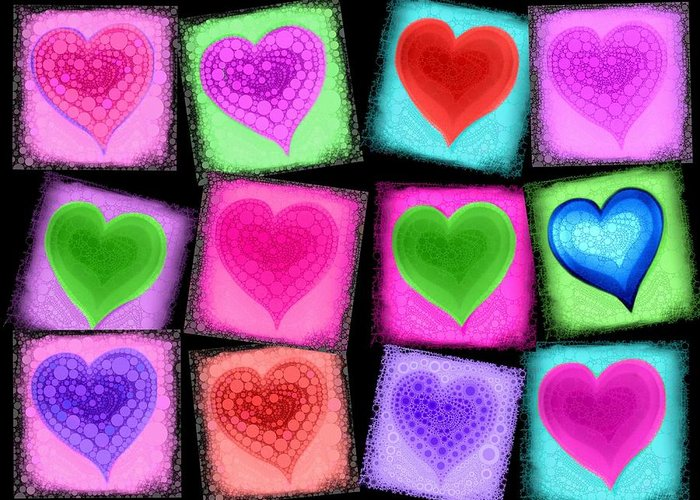 Hart Greeting Card featuring the digital art Love All Around by Cindy Edwards