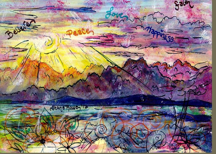 Mountains Greeting Card featuring the painting Love And Be Loved by Shana Rowe Jackson