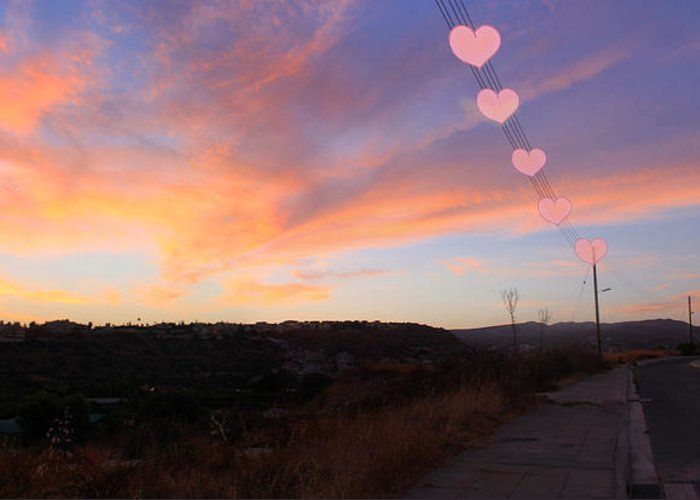Sunset Greeting Card featuring the photograph Love And Sunset by Augusta Stylianou